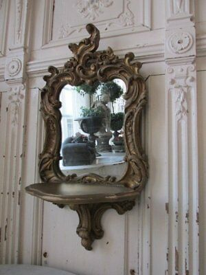 GORGEOUS Old Vintage French MIRRORED WALL SHELF Shapely Very Ornate