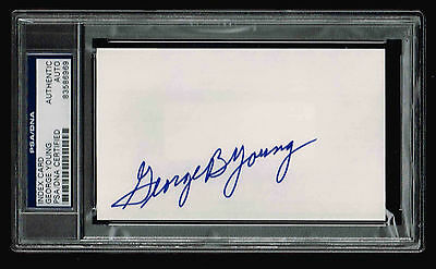 George Young  Signed Index Card  Autograpghed Psa/dna 83586969