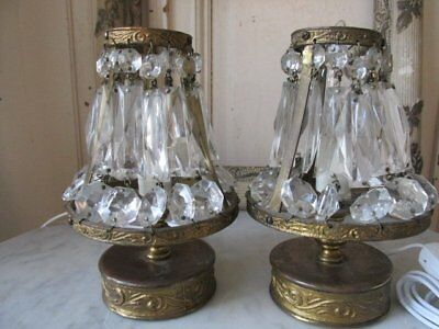 """PAIR EXQUISITE SMALL Old GIRANDOLE TABLE LAMPS CRYSTALS SHADES 7 1/2"""" Tall"""