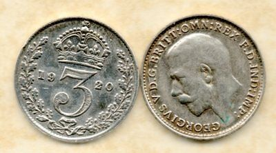 real silver 3d Three Pence coin 1920 Fine for collecting or invest in silver