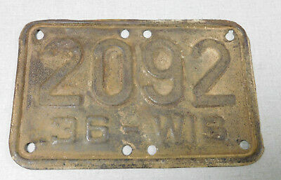 1936 Wisconsin motorcycle license plate