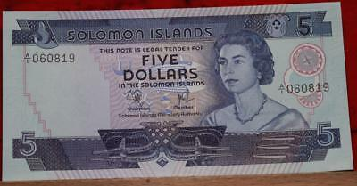 Uncirculated Solomon Island $5 Note Free S/H