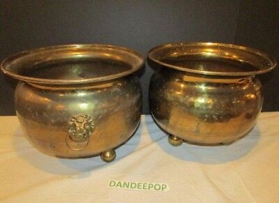 2 Antique Russian Imperial Hammered Brass Footed Planter Pot Container Lion Head