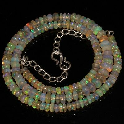 53 Ct Natural Ethiopian Welo Fire Opal Smooth Rondelle Plain Beads Necklace 8420