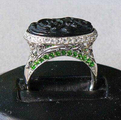 """Onyx Carved Plaque + """"diamond"""" + Peridot 14K White Gold Cocktail Ring Size 9 1/2"""