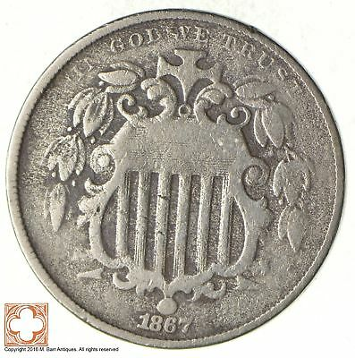 First US Nickel - 1867 - Shield Nickel - US Type Coin - Over 100 Years Old! *329