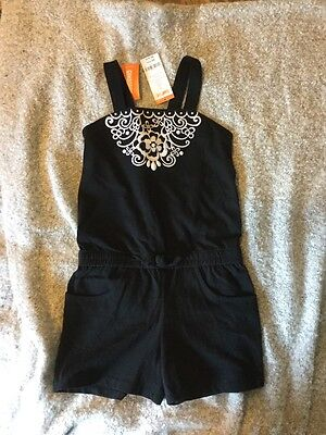 Gymboree NWT Yellow & black White Embroidered Gem Romper OUTFIT Shorts Size 8