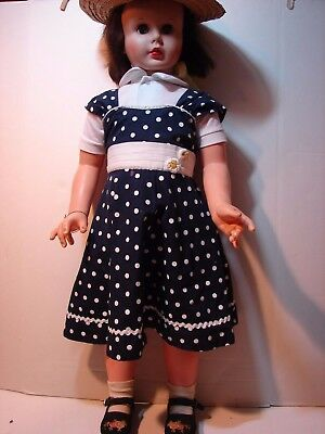 Large Vintage Vinyl Hard Plastic Doll Playpal Type Size 36 Inch Sleep Eyes