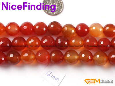 """Natural Round Faceted Red Carnelian Agate Stone Loose Beads Jewelry Making 15"""""""