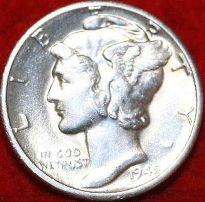 Uncirculated 1945-D Denver Mint Silver Mercury Dime Free Shipping