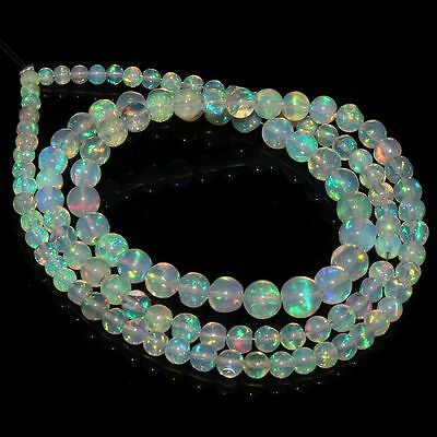34 Crt Natural Ethiopian Welo Fire Opal White Round Balls Beads Necklace 115