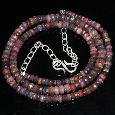 44 Crt Natural Ethiopian Welo Fire Opal Rondelle Black Faceted Beads Necklace 58