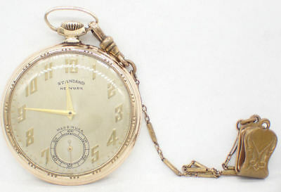 Antique Rose Gold Plated Standard New York Pocket Watch - Working