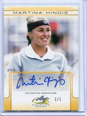 2017 Leaf Signature Series Martina Hingis Base Yellow Auto Autograph #ed 1/1