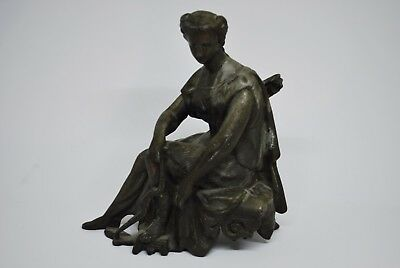 Antique Victorian Spelter Mantle Topper Diana Statue Neoclassical Roman Goddess