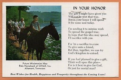 TN Tennessee Altamont Child Inc. Boys Horse Horseback Grundy County Postcard