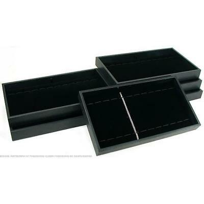 6 Black Velvet 12 Slot Bracelet & Watch Display Trays