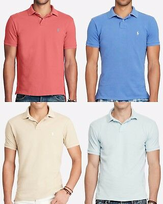 Ralph Lauren Polo Mens Classic Fit Mesh Polo Shirt Red-Blue-Beige Lot of 4 Sz XL