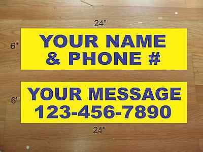 "10 6""x24"" Yellow & Blue REAL ESTATE NAME RIDER SIGNS CUSTOM LOWEST PRICE NEW"