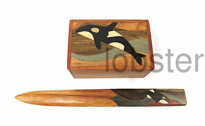 ARTISAN HAND MADE INTARSIA WOOD BOX and LETTER OPENER GIFT SET Orca Whale Design