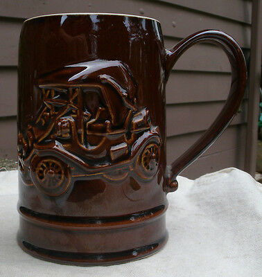 Vintage 1908 Cartercar Roadster Mug,stoneware,by Hall for AAA,1977 -car,stein