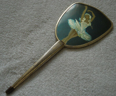 Old Vintage Hand Mirror Gold Pleated Frame with Sparkling Ballerina Print 31.5cm