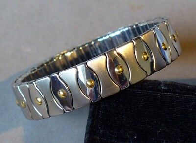 18K YELLOW GOLD and STAINLESS STEEL TOTAL FLEXABLE BANGLE BRACELET made in ITALY