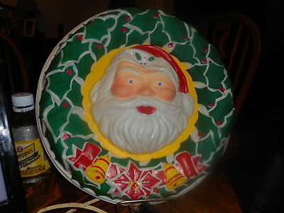 Vintage Celluloid Lighted Santa Wreath By Noma Electric