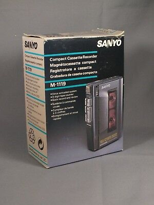 SANYO M-1119 Cassette Tape Player/Recorder /  Dictation - Boxed