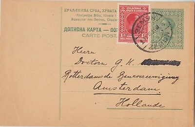 593) YUGOSLAVIA - SERBIA - UPRATED STATIONERY POSTCARD to HOLLAND