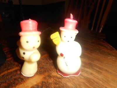 2 Vintage Tavern Snowman Candles By Socony Vacuum Oil