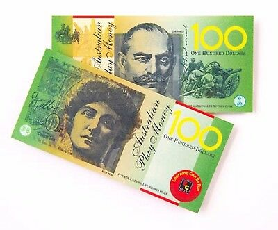100 x Realistic Australian Play Money Notes Toy $100 $50 $20 $10 $5 Won't Rip