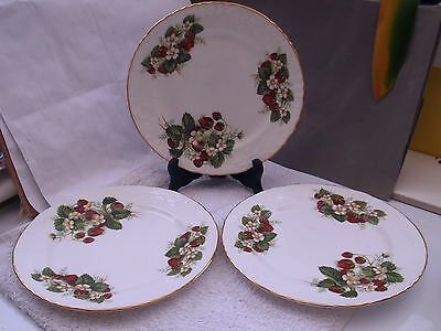 Three Hammersley Salad / Dessert  Plates With A  Strawberry  Pattern
