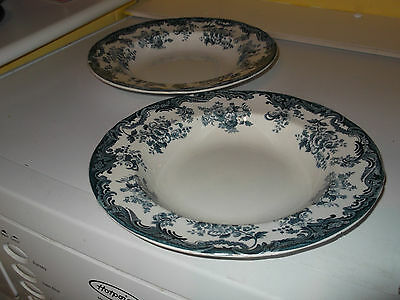 Two Vintage Minton  Shallow Soup Bowls  With A Blue And White Arabia  Pattern