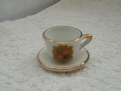Miniature Cup And Saucer,   Cup Crested Andorra,   Saucer By Gemma China
