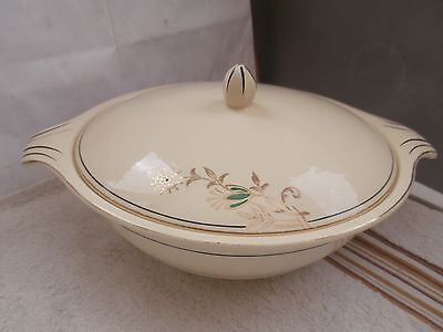Vintage Twin-Handled Lidded Tureen By J & G Meakin Gold Coloured Floral  A/f