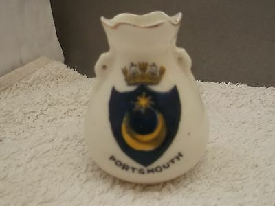 Vintage Model Of A Twin - Eared Vase Crested Portsmouth By Arcadian  China