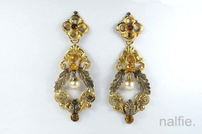 ANTIQUE PINCHBECK PASTE & PEARL EARRINGS c1800's