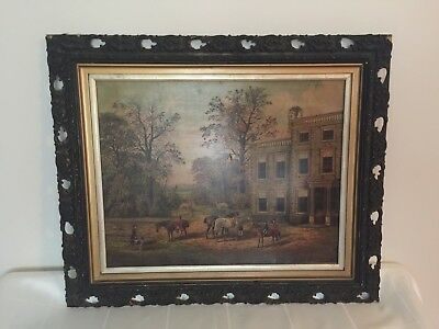Lovely Antique Oak Frame w Print of a Painting by B Hold!