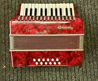 Gallotta German 12 bass ,26 notes,Accordion Red ,Ex/Condition /+ Case