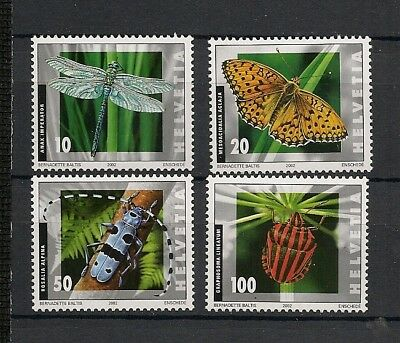 Switzerland 2002 Insects Butterfly Schmetterlinge Papillons complete set MNH