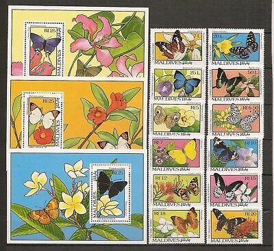 Maldives 1993 Insects Butterfly Schmetterlinge Papillons complete set + 3 SS MNH