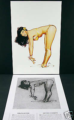 """Bikini Bettie"" Bettie Page Fine Art Print by Jim Silke with Pencil Draft Sheet"
