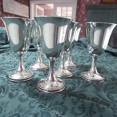 Set of Six Antique Sterling Silver Water Goblets   Prelude International P700