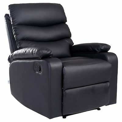 Ashby Black Leather Recliner Armchair Sofa Home Lounge Chair Reclining