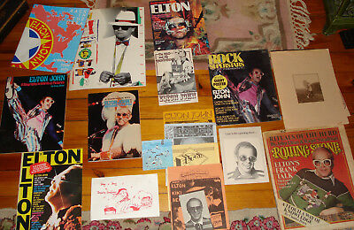 VTG ELTON JOHN FAN CLUB FOLDER TOUR BOOKS NEWSLETTERS MAGAZINES LOT 1970's