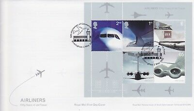 Gb Stamps Mini Sheet First Day Cover 2002 Airliners Jet Rare Pmk Collection
