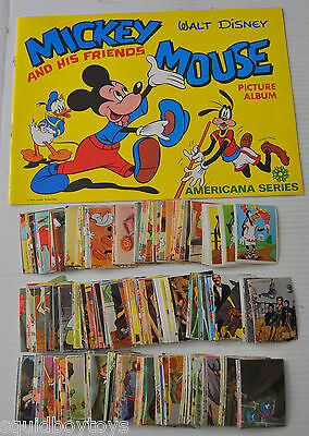 lot of 288 WALT DISNEY vintage Trading CARD STICKERS & ALBUM 1970s Americana