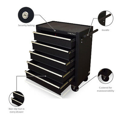 129 Us Pro Black Tools Affordable Steel Chest Tool Box Roller Cabinet 5 Drawers