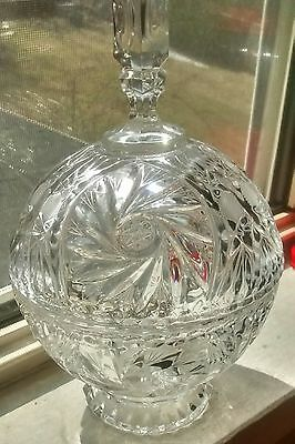 Pinwheel crystal beautiful lided candy dish awesome piece pedestal style base